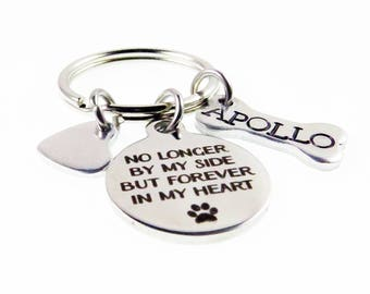 Dog Memory Bracelet - Personalized Hand Stamped Dog Bone Key Chain - In Memory Of - Dog Loss - No Longer By My Side - Expressions Bracelets