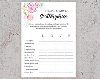 Bridal Shower Scattergories, Bridal Shower Games, Printable DIY, Floral Bridal Shower, Game,Watercolor Floral,Love Scattergories, J010