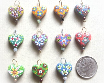 One Hand Crafted Heart Charm Miniature Pendant Sculpted Clay with Micro Tiny Painted Flowers - Custom Colors