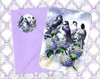 Note Cards, Birds & Hydrangeas, Gift, Note Card Set, Bird Lover, Hydrangeas, Stickers