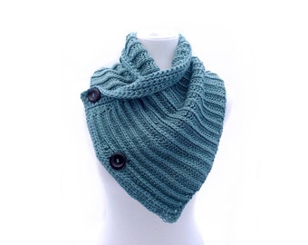 Buttoned Cowl - Cotton Wrap - Light Teal -