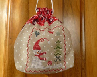 snowman and tree for Christmas embroidered on a purse