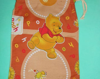 Bag / pouch fully lined with DrawString - fabric Teddy bear - new, handmade