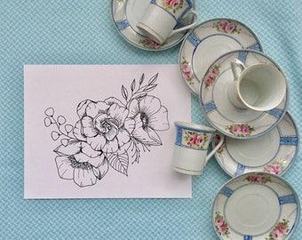 Gardenia Bouquet Print | Floral Design | Botanical Line Drawing