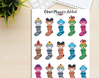 Sock Monkeys Planner Stickers | Emoji Stickers | Cute Socks | Emoticon Stickers | Mood Trackers (S-157)