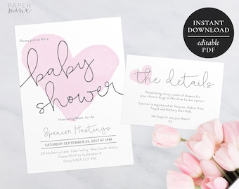 Printable Baby Shower Invitation Watercolor | Editable Template | Pink Heart | Baby Girl | Watercolour Heart Invitation | Digital Download