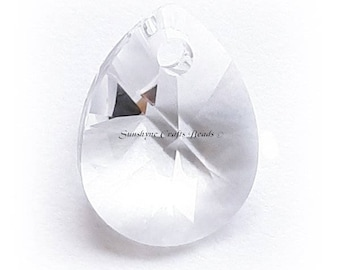 Swarovski Crystal Beads 6128 CRYSTAL Clear Mini Pear Faceted Pendant - Mini Pear - 10mm & 12mm Available - Rare Find !