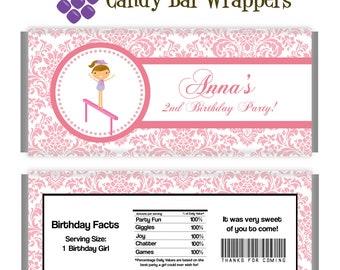 Gymnastic Candy Wrapper - Pink Damask Girl Gymnast Personalized Birthday Party Favor Candy Bar Wraps - A Digital Printable File