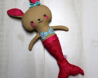 Mermaid Bunny Doll, Mermaid Doll, Bunny, Cloth Doll, Rag Doll, Soft Doll, Baby Doll, Handmade Doll, Fabric Doll, Doll, Girl Gift