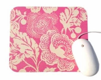 Mouse Pad / Fresh Poppies Pink and Cream / Amy Butler Midwest Modern / Home Office Decor