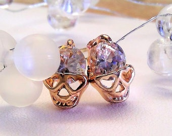 Earrings dead heads with crystals in rosé gold
