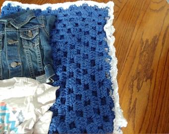Royal Blue Granny Square Baby Blanket