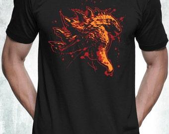 New Godzilla Shirt Styalized Paint Splatter Godzilla 2014 Fine Cotton Jersey Mens and Ladies Womens Black T-Shirt Unisex Adult Sizes