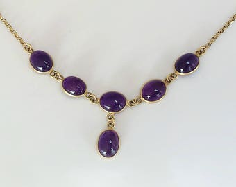 Vintage 9ct Gold Amethyst Necklace, Oval Cabochon Amethysts, Mid 20th Century. Ref: J1317