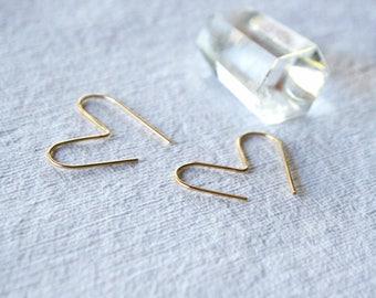Heart Hoops, Simple Hoops, Gold Fill Hoop Earrings, Minimalist Hoops, Medium Sized Hoops, Geometic Hoop Earrings, HEART