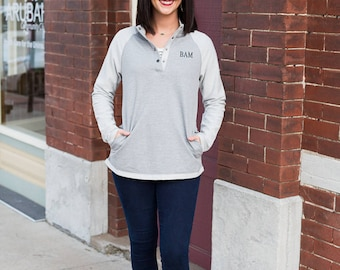 Monogrammed Terry Pullover   Buttoned Pullover   Lightweight Terry Cloth Sweatshirt   Personalized Gift for Her   Gifts for Best Friends