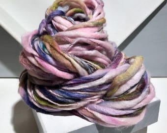 """Thick Thin Art Yarn, bulky handspun yarn """"Golden Hour"""" pink purple Green blue teal Crochet Knitting weaving yarn, bulky yarn"""