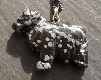 Year of the OX Snowflake Obsidian Stone carved pendant Necklace Zodiac charm Animal Totem Spotted Speckled Black White Mineral Jewelry gift