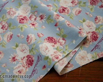 Vintage Pink Rose Cotton Fabric On Grey Blue Cotton Shabby Chic Fabric Flower Cotton- 1/2 yard