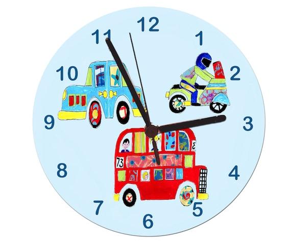 Autos Clock Boys Clock Non Tickende Uhr Kids Room Clock