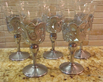 Vintage Silver Plated & Glass Cups Cordial Glasses - Asian Motif Dragons, Pagodas - Set of (5) - Excellent Condition!!