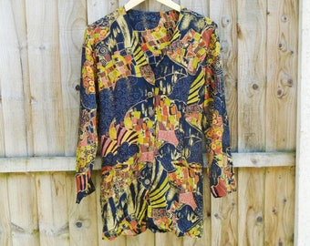 Vintage Blouse - Long Shirt - Shirt Dress - Oversized - Abstract - Festival - 90s