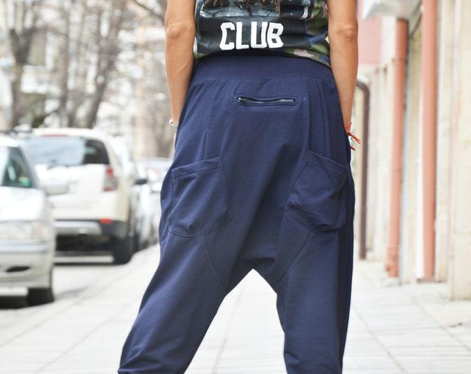 Blue Pants, Loose Pants, Cotton Pants, Trousers, Casual Drop Crotch Pants, Harem Pants, Extravagant Low Bottom Pants by SSDfashion