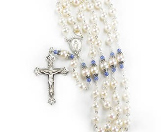Mantle of Mary Catholic Rosary - Freshwater Pearls, Kyanite stones, Bali sterling Silver - Handmade, Heirloom Rosaries - Gifts for Her