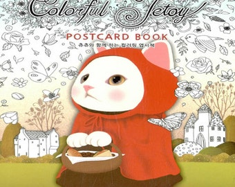Colorful Jetoy Postcard Coloring Book - Cat Colouring Postcards, ChuChu cat illustrations, 9791195490912
