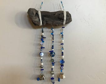 Driftwood & Seaglass Wall Hanging/Mobile with Blue and White
