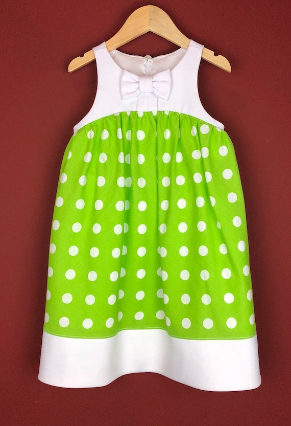 "The ""Bow Tie Dress"" in Lime Polka Dot"