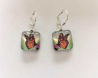 Monarch Butterfly Earrings/ Original Wearable Art