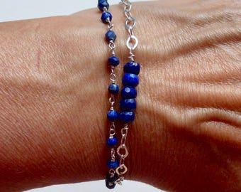 Lapis Lazuli Bracelet, Double Strand Lapis Lazuli Tassel Bracelet, Sterling Silver Lapis Gemstone Tassel Bracelet - Blue Tassel Bracelet