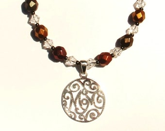 Mom Necklace, Sterling Silver Pendant with Swarovski Crystal and  Metallic Beads
