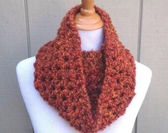 Infinity scarf - Fall Crochet cowl - Womens circle scarf - Teens neck warmer - Chunky crochet scarf