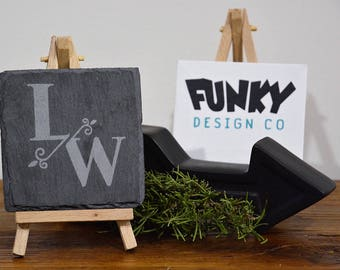 Personalised Slate Coaster Set | Etched Initials Design | Birthday Wedding Engagement Housewarming Gift
