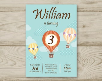 Hot Air Balloon Birthday Party Invitations Personalised Invites Sky Clouds