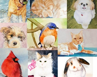 Custom Pet Portrait, WATERCOLOR Painting, Realistic Animal Painting – Hand painted from your photos - LindaMcBrideArt