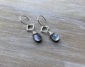 Mother of Pearl Sterling Silver Wire Wrapped Handmade Earrings