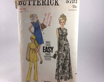 1970's Vintage Pattern - Butterick 5793 - Maternity one-piece dress and pants - size 16