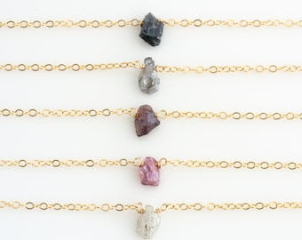 Dainty Stone Necklace/ Minimal Necklace/ Layering Necklace/ Delicate Bead Necklace/ Pink Stone Necklace/ Gift for Her /Bridesmaid Gift/N251
