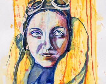 Amy Johnson Portrait A3 (Other sizes available)