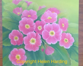 Flower Painting. Original Oil Painting Of Pink Polyanthus. Pink Flowers.