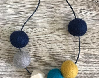 Felt ball + wood bead adjustable necklace // navy - mustard - teal - stone