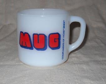 Federal Glass Vicks Sinex Milk Glass Advertising Mug 1960's Promotional Giveaway