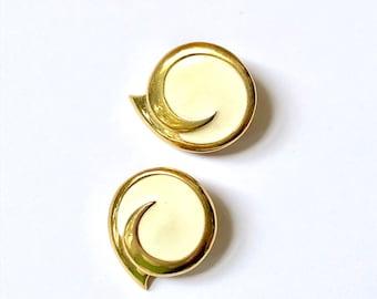 Ivory Enamel Vintage Earrings / Gold and Cream Statement Earrings / Large Boho Glam Earrings