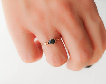 Black stone open ring -  Black Teardrop ring -Black and white stone ring -  Gold ring - open cuff ring - Dainty ring - Gold open ring