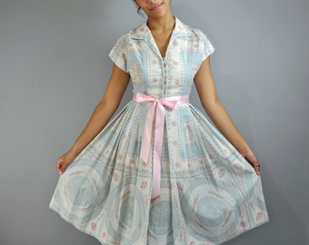 Vintage 50s Dress 50s Day Dress / Full Skirt Cotton Dress / Kimono Sleeve Retro Pastel Print Garden Party Tea Shirtwaist Day Dress XS / S