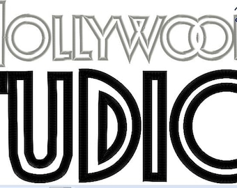 Hollywood Studios Logo - 4x4, 5x7 and 6x10 in 9 formats - Applique - Instant Download - David Taylor Digitizing