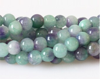 B22 Natural Gradient Chalcedony Beads, Full Strand 6 8 10 12mm Purple and Green Chalcedony Gemstone Beads for Jewelry Making